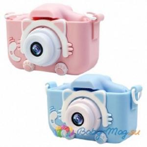 Детский цифровой фотоаппарат GSMIN Fun Camera Kitty со встроенной памятью и играми розовый и голубой.