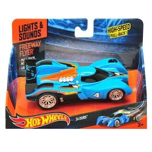HW90561 Машинка Хот вилс на батарейках со светом механическая, синяя 14 см. Оригинал !
