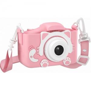 Детский цифровой фотоаппарат GSMIN Fun Camera Kitty со встроенной памятью и играми розовый