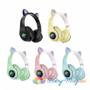 Детские беспроводные наушники Cat Ear Headphones  с кошачьими ушками, лапки светящиеся. 4 ЦВЕТА