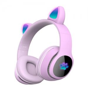 Детские беспроводные наушники Cat Ear Headphones  с кошачьими ушками, лапки светящиеся. Светло-розовые