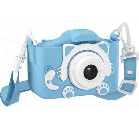 Детский цифровой фотоаппарат GSMIN Fun Camera Kitty со встроенной памятью и играми голубой