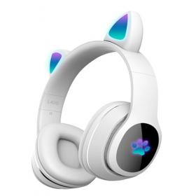 Детские беспроводные наушники Cat Ear Headphones  с кошачьими ушками, лапки светящиеся. Белые