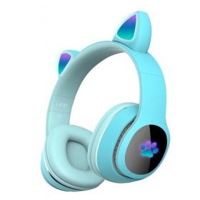 Детские беспроводные наушники светло голубыеCat Ear Headphones - скошачьими ушками, лапки светящиеся. Светло-Голубые