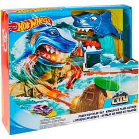 """Хот Вилс Сити Игровой набор """"Схватка с акулой  !"""
